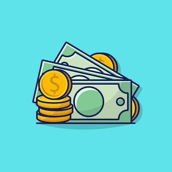 お金とコインアイコンのイラストグラフィック