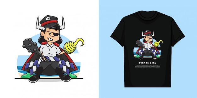 Иллюстрация милой девушки нося костюм пирата с держать терновую бейсбольную биту. и дизайн футболки.