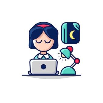 夜のラップトップで女性キャラクターとビジネス残業のイラスト