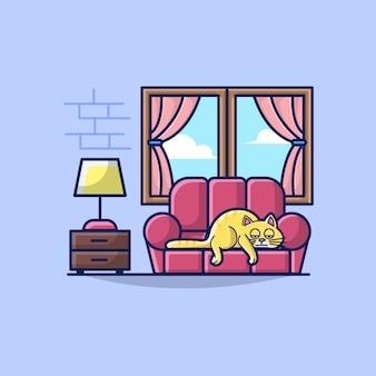 Иллюстрация из гостиной с ленивым котом