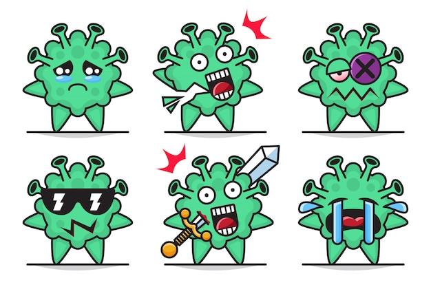 Иллюстрация комплекта милых талисманов вируса короны с различным выражением ..