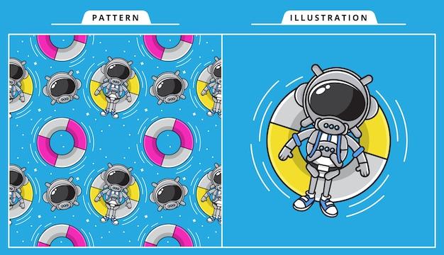 かわいい宇宙飛行士のイラストがパターンで夏のコンセプトで泳いでいます。