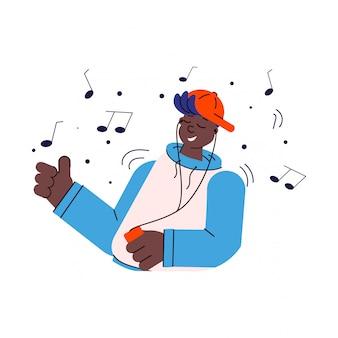 Изолированная иллюстрация эскиза музыки афро-американского человека или парня слушая.