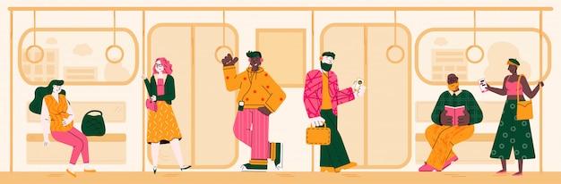 Предпосылка метро с людьми на пути к дому или работе, иллюстрации.