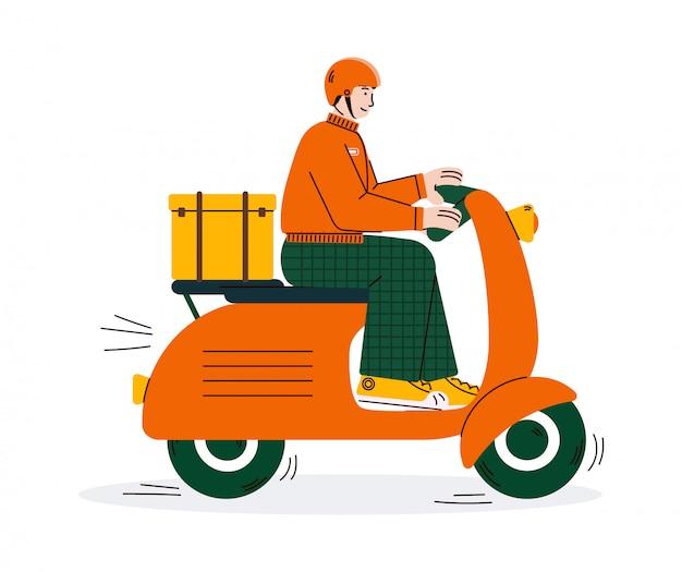 Изолированная иллюстрация вектора шаржа мотоцикла самоката катания работника доставляющего покупки на дом.