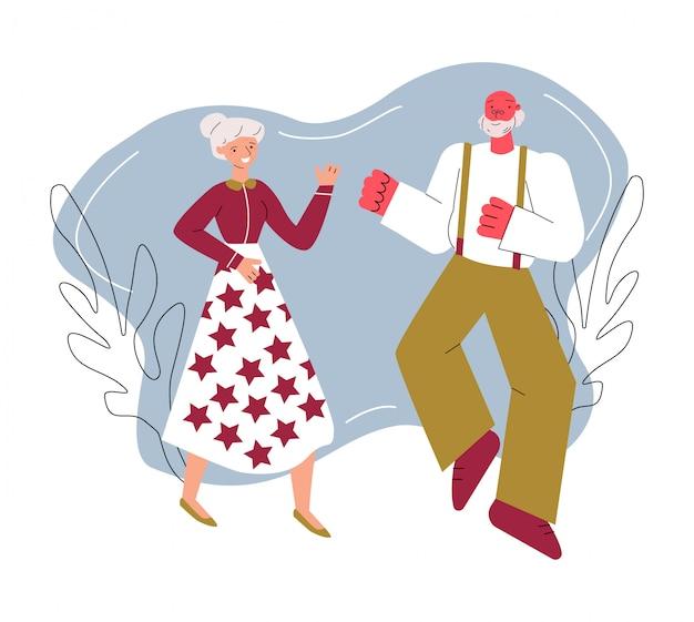 陽気に踊る高齢者が分離された漫画イラストをスケッチします。
