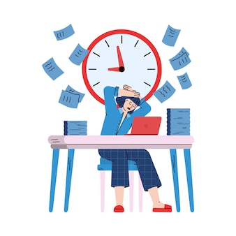 ストレスと忙しいビジネスウーマン、スケッチ漫画イラスト