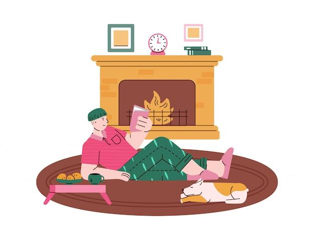 暖炉のある部屋で読んでいる人、スケッチ漫画イラスト