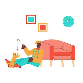 Кошка домашнее животное и владелец, играя вместе мультфильм иллюстрации