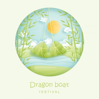 チャイニーズドラゴンボートフェスティバル。餃子と竹のジャングル、川。紙カットイラスト。
