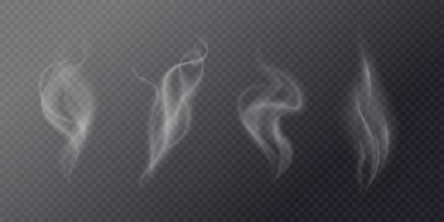 暗い背景に流体のタバコの煙。