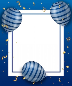 Синий шар и золото рибон с синим фоном.