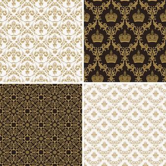 シームレスなビンテージゴールドとブラックのパターン、ビクトリア朝様式
