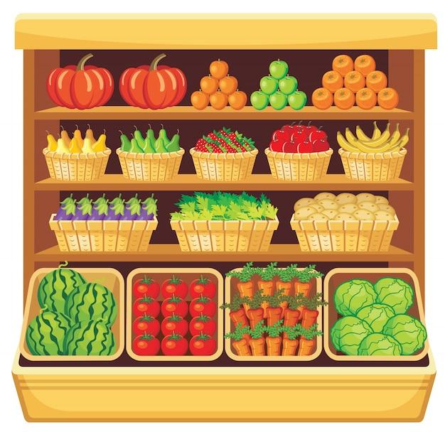Изображение полок в супермаркете с фруктами и овощами.