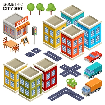 Изометрические город множество.