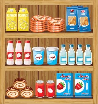 Изображение стойки из дерева с продуктами в магазине.
