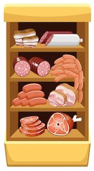 Полки с мясными продуктами. мясной рынок.