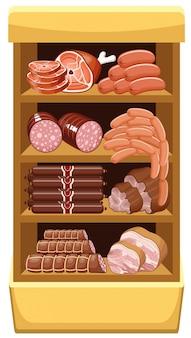 肉製品のある棚。精肉市場。