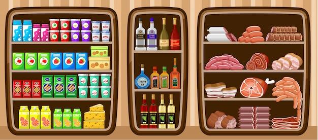スーパーマーケット。食物と一緒に棚。