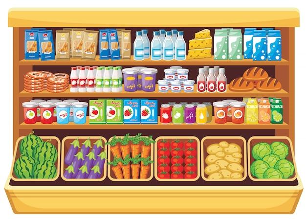 スーパーマーケットのさまざまな製品の棚の画像