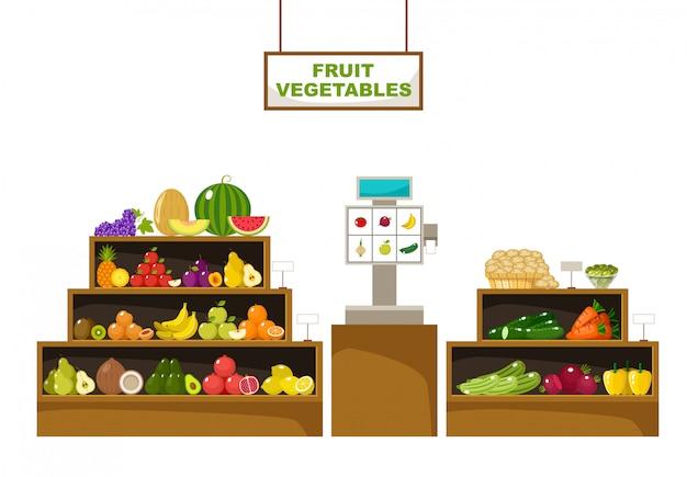 果物のカウンター。スーパーマーケット。