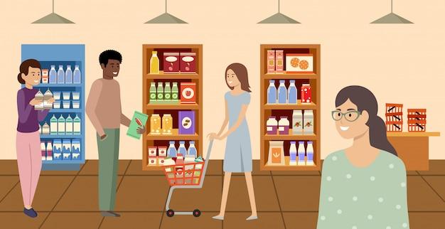 スーパーマーケット。食料品店で製品を選択して購入する人々。ベクトルフラットイラスト。
