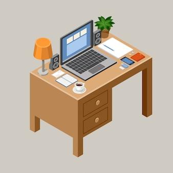 Плоское изометрическое рабочее пространство. стол письменный. офис. ноутбук, смартфон, лампа, кофе