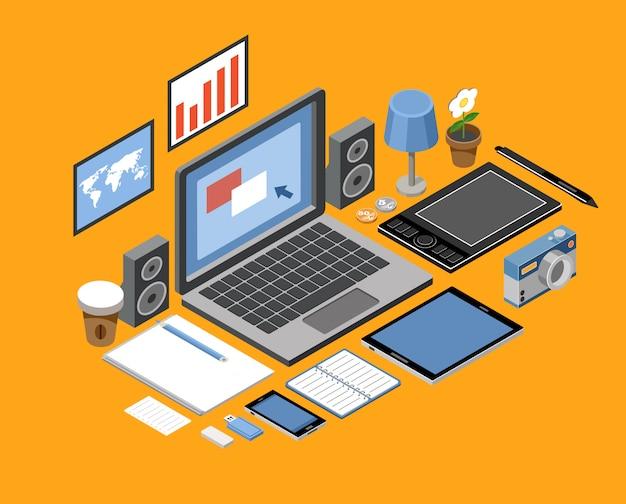Плоское изометрическое рабочее пространство. офис. ноутбук, планшет, книги, фотоаппарат, офис, графический планшет, лампа, кофе