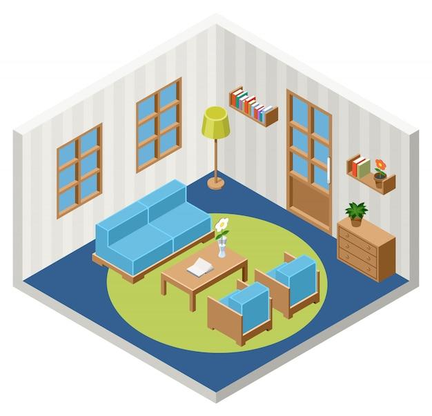 家具と等尺性部屋のインテリア