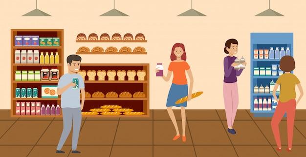 スーパーマーケット。食料品店で商品を選んで購入する人々