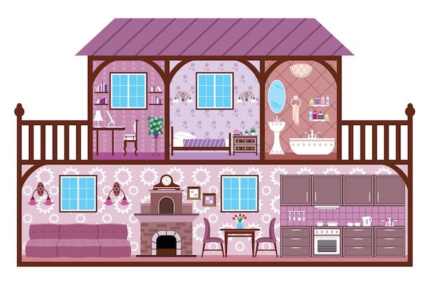 Изображение комнат дома с элементами дизайна.