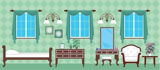 Изображение внутренней спальни с кроватью и шкафом.