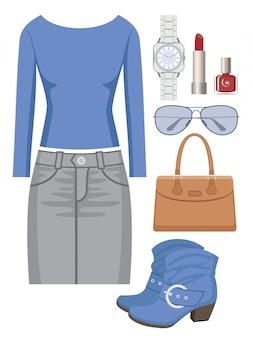 Модный комплект с юбкой и свитером