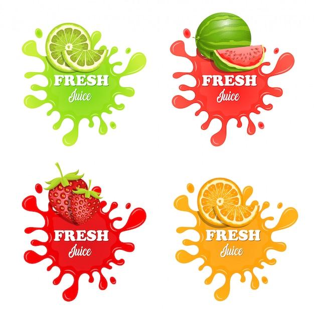 フルーツジュースはね白で隔離される図