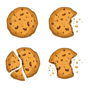 白で隔離されるおいしいクッキーイラスト