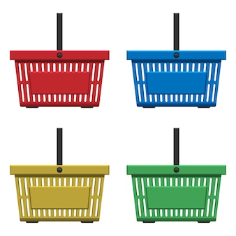 白で隔離されるスーパーマーケットバスケットベクターデザインイラスト