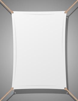 Текстильная баннер с веревками векторная иллюстрация дизайн, изолированных на
