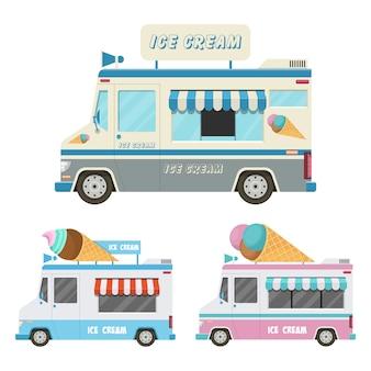 Иллюстрация автомобиля мороженого на белом фоне