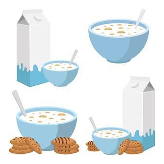 白で隔離されるミルクの図が付いている穀物のボウル
