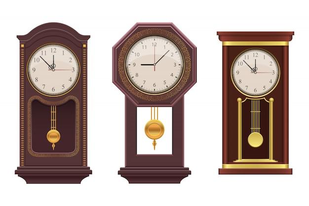 Маятник старинные часы иллюстрация на белом