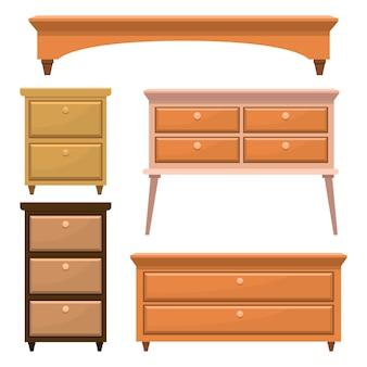 Ретро деревянная мебель для спальни иллюстрации на белом
