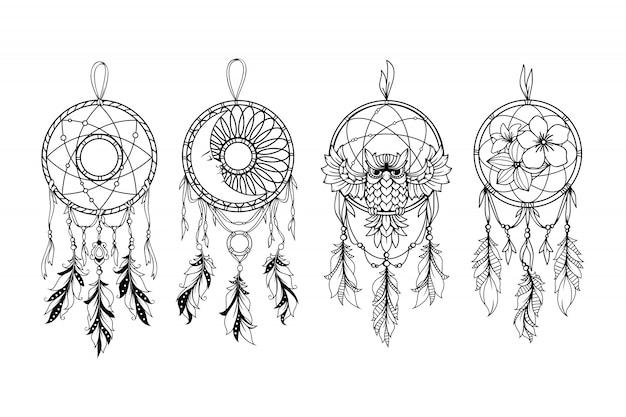Набор иллюстрации ловца снов