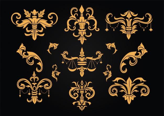 Набор винтажного барочного викторианского дизайна