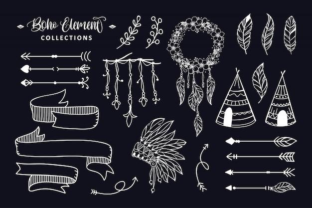 Рисованная коллекция элементов стиля бохо