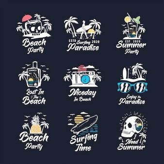 ビンテージ夏バッジラベル、エンブレム、ロゴのセット