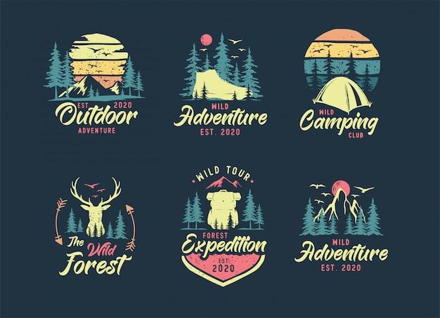 キャンプと屋外のロゴのセット