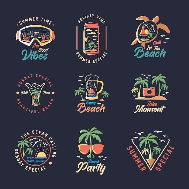 Набор старинных летних значков этикетки, эмблемы и логотип