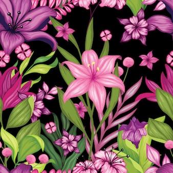 Сказочные красочные цветочные бесшовные
