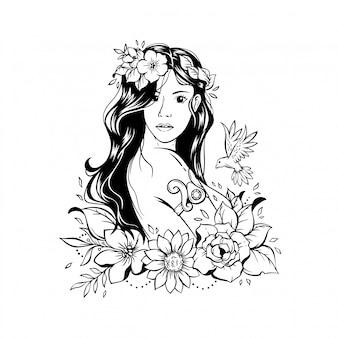 Иллюстрация красивая девушка с цветами