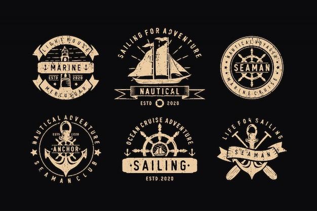 Набор парусных значков, ярлыков, эмблем и логотипа